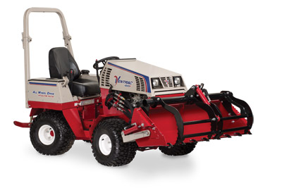 Ventrac 4500 Power Bucket with Grapple lifted and closed - Shown with optional Grapple and Cutting Teeth