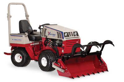 Ventrac 4500 Power Bucket with Grapple lowered and fully extended - Shown with optional Grapple and Cutting Teeth