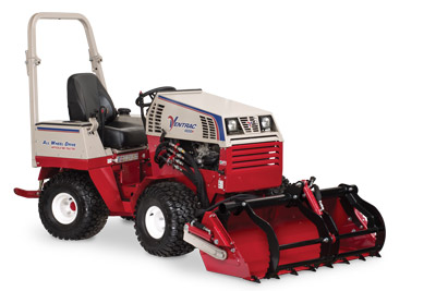 Ventrac 4500 Power Bucket with Grapple lowered and closed - Shown with optional Grapple and Cutting Teeth