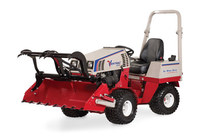 Ventrac 4500 Power Bucket with Grapple left side open - Shown with optional Grapple and Cutting Teeth