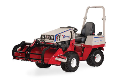 Ventrac 4500 Power Bucket with Grapple left side closed - Shown with optional Grapple and Cutting Teeth