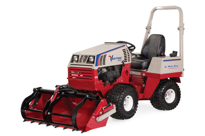 Ventrac 4500 with Power Bucket with Grapple Closed - HE482 Power Bucket and optional Grapple