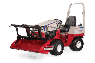 Ventrac 4500 Power Bucket with Grapple left side - Shown with optional Grapple and Cutting Teeth