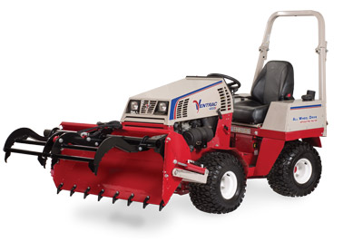 Ventrac 4500 Power Bucket with Grapple extended and lifted dumped - Shown with optional Grapple and Cutting Teeth