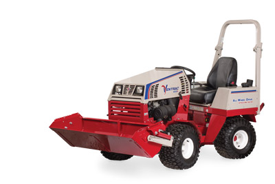 Ventrac 4500 with Power Bucket tilted up - HE482 Power Bucket
