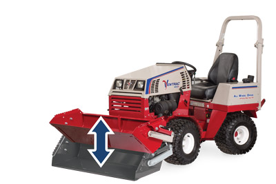 Ventrac 4500 with Power Bucket tilt back - Illustration shows the range of upward tilt on bucket.