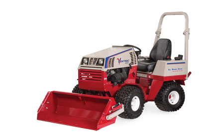 Ventrac 4500 with Power Bucket at rest - Illustration shows the bucket at the lowest position.