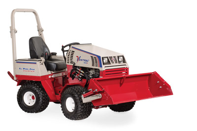 Ventrac 4500 with Power Bucket lifted - Illustration shows bucket at max lifted height.