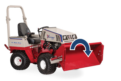 Ventrac 4500 with Power Bucket dumped right side - Illustration shows the dump motion for the bucket.