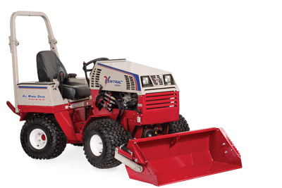 Ventrac 4500 with Power Bucket at rest right side - Illustration shows the bucket at the lowest position.