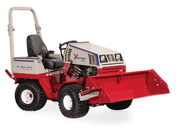 Ventrac 4500 with Power Bucket lifted right side - Illustration shows bucket at max lifted height.
