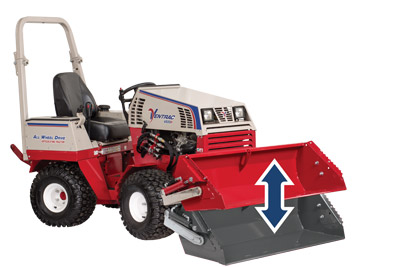 Ventrac 4500 with Power Bucket - Illustration shows the range of upward tilt on bucket.
