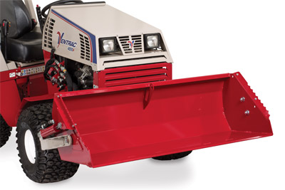 Ventrac 4500 with Power Bucket closeup lifted - Bucket lifted to max height