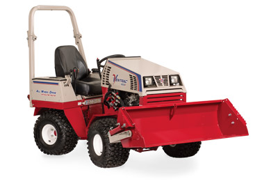Ventrac 4500 with Power Bucket fully lifted - HE482 Power Bucket