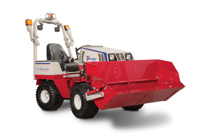 Ventrac 4500 with Power Bucket Right Side - Shown with optional Extension for the Power Bucket.