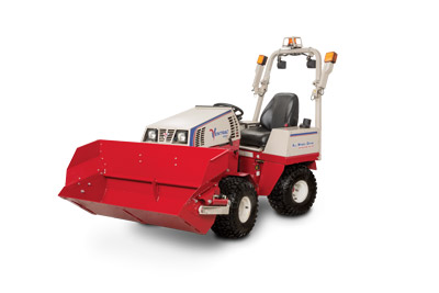 Ventrac 4500 with Power Bucket Left Side - Shown with optional Extension for the Power Bucket.