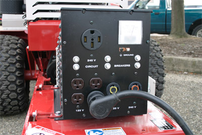 Power Generator for the Ventrac 4500 front view - Receptacles for both 110 and 220 for your convenience.