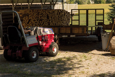 Ventrac 4500 using Trailer Mover - Quickly move a trailer into place while looking ahead with the Trailer Mover.