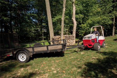 Trailer Mover Maneuvers Trailer into Place - The Ventrac 4500 uses AWD and articulated steering to increase maneuverability and make moving trailers simple.