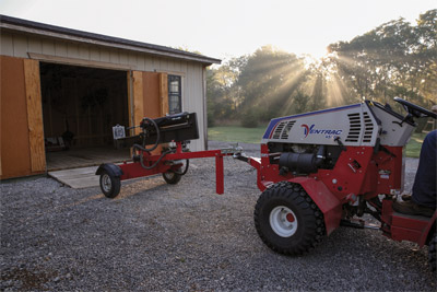 Trailer Mover Maneuvering Log Splitter - Practically anything with a trailer coupler can be moved using the Trailer Mover.