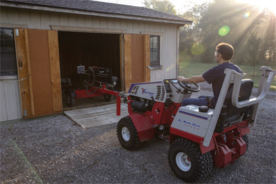 Ventrac 4500 moving Log Splitter with Trailer Mover - A pickup would simply not be able to do this but the Ventrac 4500 with the Trailer Mover can.