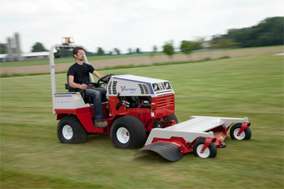 Ventrac 4500Y with 60 inch mowing deck in action - With a top speed of 10 MPH the Ventrac 4500 gets the job done quickly without tearing up the turf.