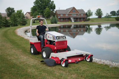 Ventrac 4500Y with Precision Mower Deck - Shown with optional mounted LED lights and safety strobe light