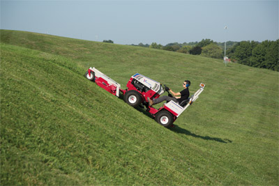 Ventrac 4500Z with 72 inch mowing deck - The 4500 and the 72 inch mowing deck are both designed to give you great looking results even on hills and slopes.