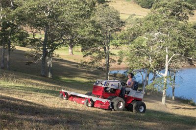 Ventrac 4500 Mowing Uphill with HM722 - Never be afraid to mow those hills again with the 30 degree slope rated 4500 and dual wheels.