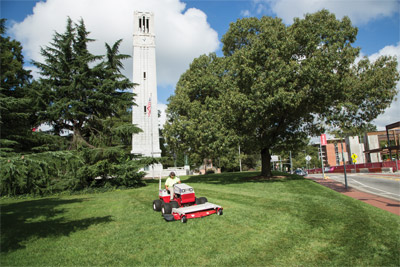 Ventrac 4500 finish mowing with 72 inch deck - Large mower deck makes fast work of large areas while the maneuverability of the 4500 helps with tight spaces as well.