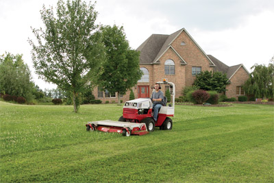 Professional lawn striping with Ventrac 4500 and HM722 deck - The Ventrac 4500 along with the 72 inch complete mowing deck leaves lawns looking professionally done in less time.