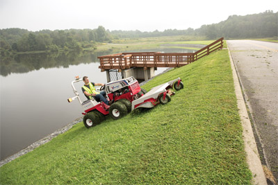 Ventrac 4500 mowing with HM722