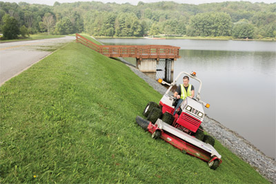 Ventrac 4500 with 72 inch Deck - Slope mowing with the Ventrac is safer and more stable and the large 72 inch mowing deck gets the job done faster for less time spent on those steep slopes.