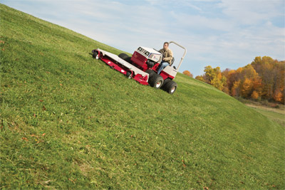 Ventrac 4500Y diesel compact utility tractor with 72 inch mowing deck - Safer slope operation with the Ventrac 4500
