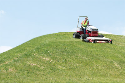Ventrac 4500 the King of the Hill - Uneven turf, hills, slopes, wet and soaked ground are more safely handled by the Ventrac 4500.