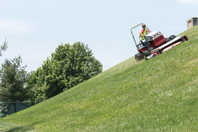 Ventrac 4500 with 72 inch deck mowing slopes more safely - The Ventrac 4500 is capable of more safely operating on hills and slopes than zero-turn mowers.