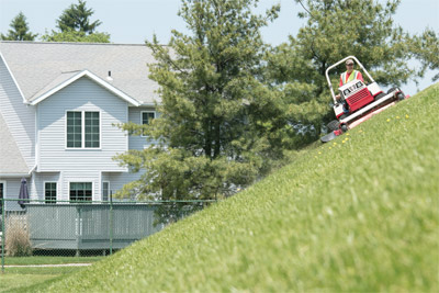 Ventrac 4500 AWD utility tractor Slope Mowing with HM722 front - Rated for slopes of up to 30 degrees (with optional dual wheels) Ventrac allows you to confidently tackle tasks you wouldn't do with other equipment.