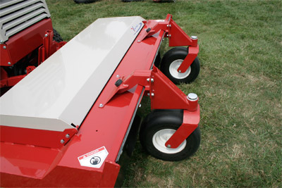 HQ680 Tough Cut Mower Deck Closeup - Shown with the optional Swivel Wheel Kit