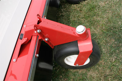 HQ680 Tough Cut Mower Deck Swivel Wheel - Closeup of the optional swivel wheel kit for the Tough Cut deck.