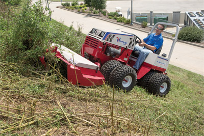 Ventrac 4500P and HQ680 Mower Deck - The Ventrac 4500 and Tough Cut mower can do with one person what a team of people with weed eaters would be needed to do.