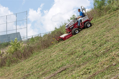 Ventrac 4500P Downhill Mowing with Tough Cut - The stability and control of the Ventrac 4500 helps give you a more complete cut on slopes even going downhill.