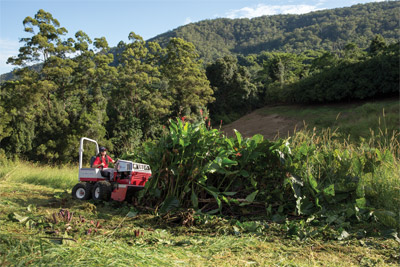 Ventrac 4500 and Tough Cut at work in Australia - Even the wild untamed thickets of the land down under are reigned in by the Ventrac 4500 with Tough Cut mower deck.