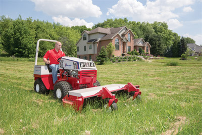 Ventrac 4500K using the HQ680 Tough Cut - The Tough Cut mower is able to mow thoroughly through both thick brush and clumps of dead grass.