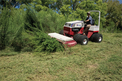 Ventrac with Tough Cut - Saplings of up to an inch can be easily taken down by the Tough Cut.