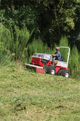 Ventrac 4500 uses Tough Cut on hill - Even on slopes the Ventrac 4500 with Tough Cut Mower can still get the job done.