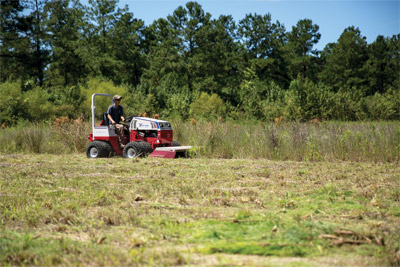 Ventrac 4500 mowing with the HQ680 - Taming the wild areas is easier with the Ventrac 4500 and the Tough Cut mower.