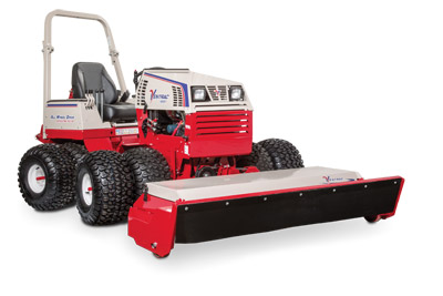 Ventrac 4500Y with Tough Cut right view - Pictured with optional dual wheels and 3 point kit.