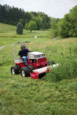 Tough Cut Mower Deck on a Ventrac 4500 - Mowing overgrown areas is made simple using the Tough Cut deck.