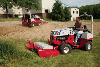 Two Ventrac 4500Y compact utility tractors at work - Foreground 4500 pictured with Tough Cut Mower