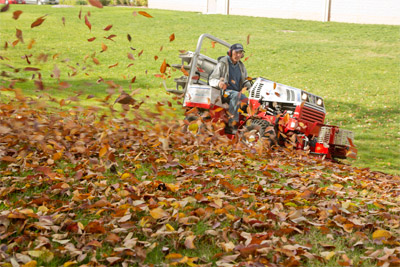 Ventrac 4500Z with Power Blower - The power blower moves leaves along at up to 180 MPH making fall yard work more like fun and less like work.